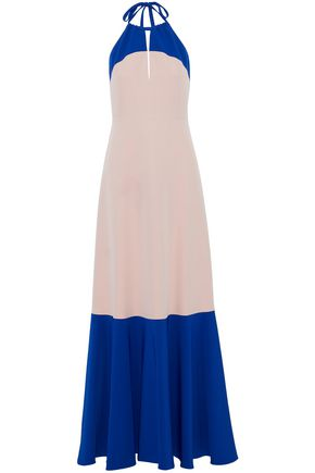 MILLY Two-tone cady halterneck gown