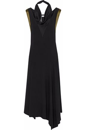 LANVIN Draped satin-crepe midi dress