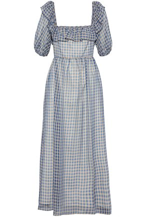 ALEXACHUNG Ruffled gingham chiffon midi dress