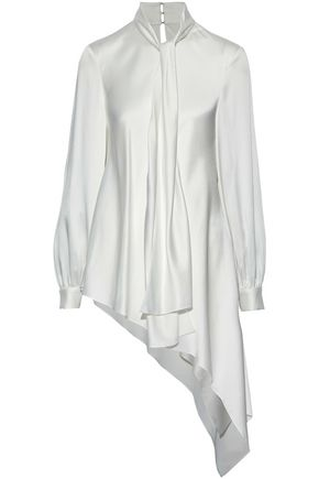 OSCAR DE LA RENTA Asymmetric satin-crepe blouse