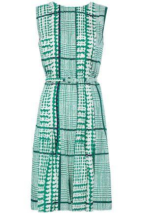OSCAR DE LA RENTA Belted pleated printed silk-twill dress