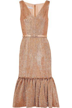 OSCAR DE LA RENTA Belted embellished lamé dress