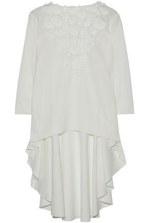 OSCAR DE LA RENTA Asymmetric floral-appliquéd silk crepe de chine top
