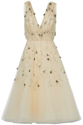 OSCAR DE LA RENTA Embellished silk-tulle dress