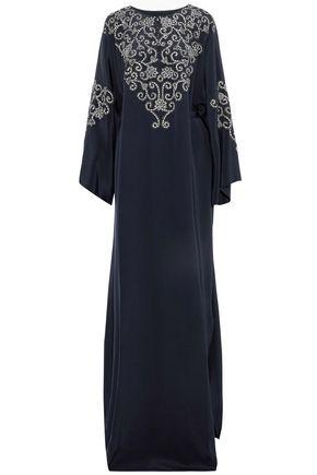 OSCAR DE LA RENTA Draped metallic embroidered silk gown