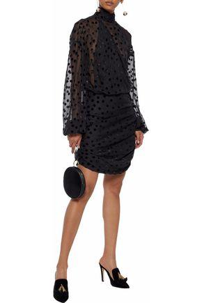 MAGDA BUTRYM Wrap-effect ruched flocked silk-blend chiffon mini dress