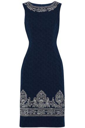 OSCAR DE LA RENTA Metallic embroidered cotton-jacquard dress