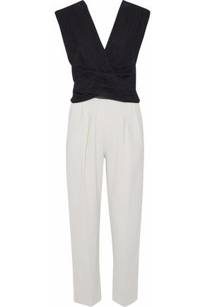 MAX MARA Apice wrap-effect pleated chiffon and crepe jumpsuit