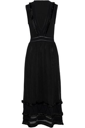 VALENTINO GARAVANI Pointelle-trimmed silk midi dress