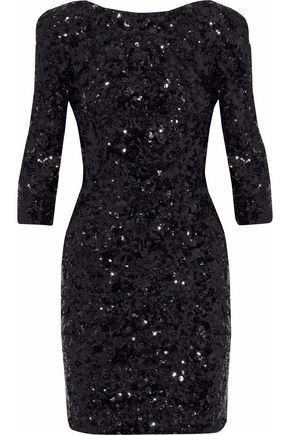 DOLCE & GABBANA Open-back sequined tulle mini dress