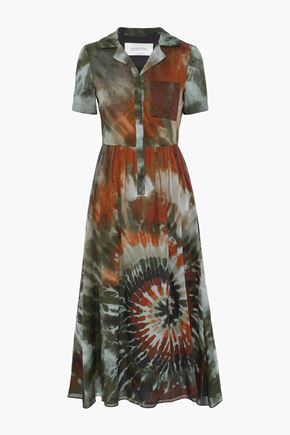 VALENTINO Tie-dyed cotton-voile midi shirt dress