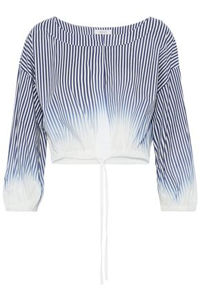 MILLY Chrystie dégradé striped cotton-blend poplin top