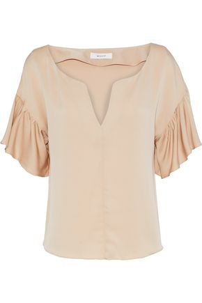 MILLY Gabby ruffled stretch-silk blouse