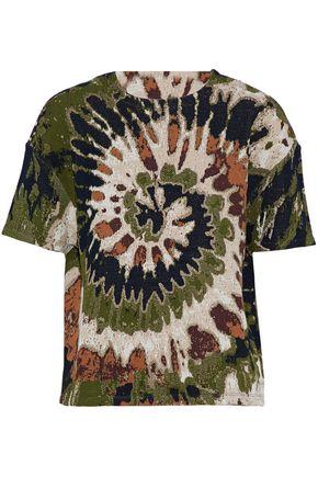 VALENTINO Metallic jacquard-knit T-shirt