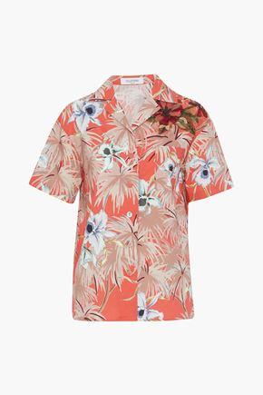 VALENTINO Floral-appliquéd printed cotton-poplin shirt