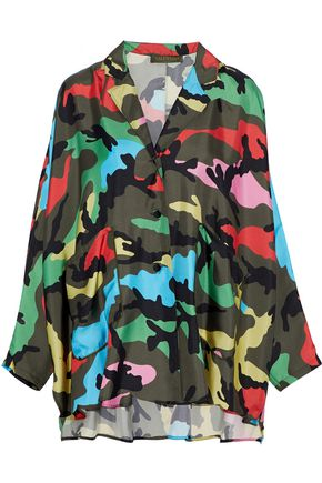 VALENTINO Draped printed silk-twill tunic