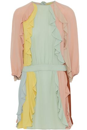 VALENTINO Ruffle-trimmed color-block silk crepe de chine mini dress