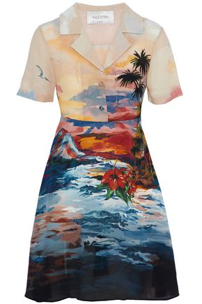 VALENTINO Printed silk crepe de chine dress