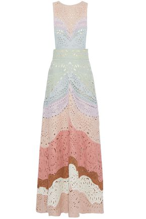 VALENTINO Beaded color-block broderie anglaise linen maxi dress