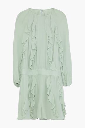VALENTINO Ruffled silk-gauze playsuit