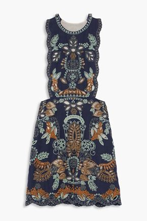 VALENTINO Bead-embellished cutout linen mini dress