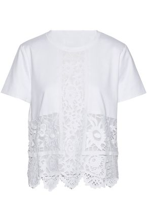 VALENTINO GARAVANI Guipure lace-paneled cotton-jersey top