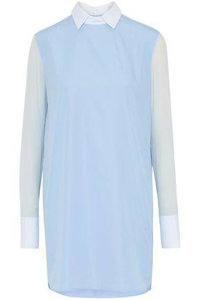 VALENTINO Chiffon-paneled cotton-poplin mini shirt dress