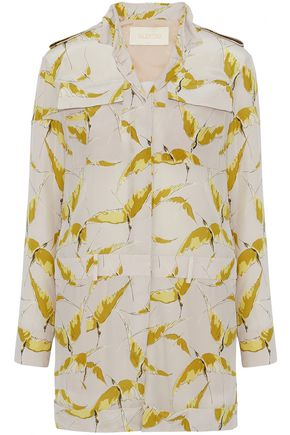 VALENTINO Printed silk crepe de chine playsuit