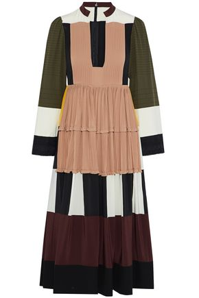 VALENTINO Color-block plissé silk crepe de chine midi dress