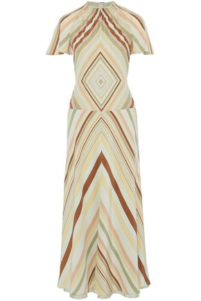 VALENTINO Printed silk crepe de chine midi dress