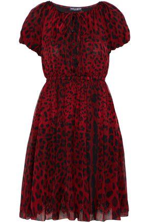 DOLCE & GABBANA Pleated leopard-print silk-chiffon mini dress