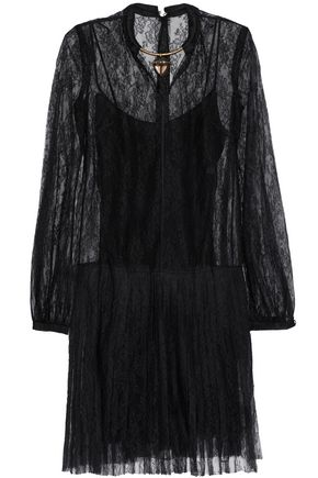 VALENTINO Layered appliquéd pleated silk-lace mini dress