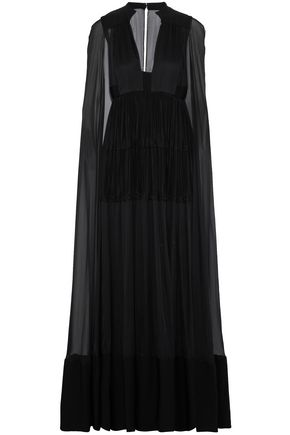 VALENTINO Pleated ruffled silk-voile gown
