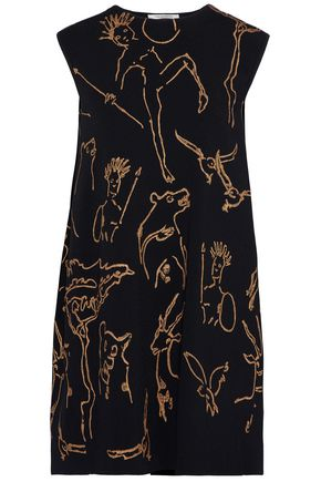 VALENTINO Metallic printed knitted mini dress