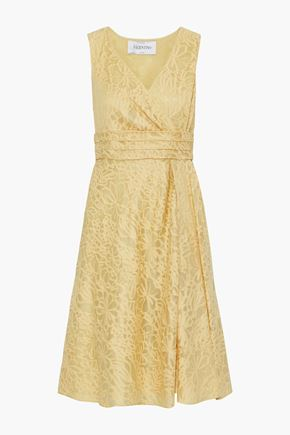 VALENTINO Wrap-effect embroidered cotton and silk-blend gauze dress