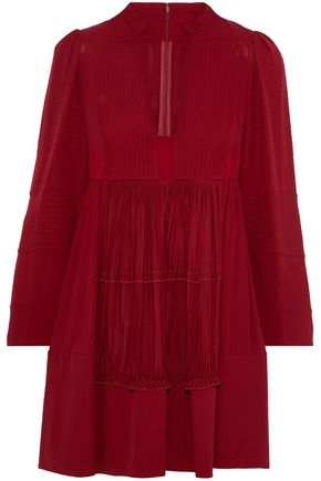 VALENTINO Crepe-paneled plissé silk crepe de chine mini dress