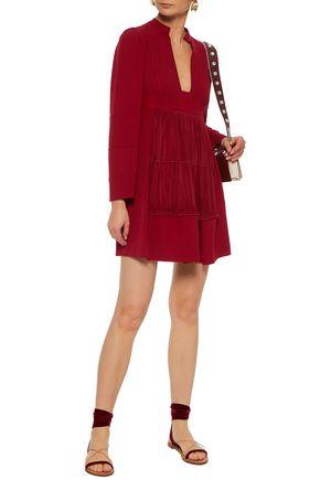 VALENTINO Crepe-paneled plissé silk crepe de chine mini dress