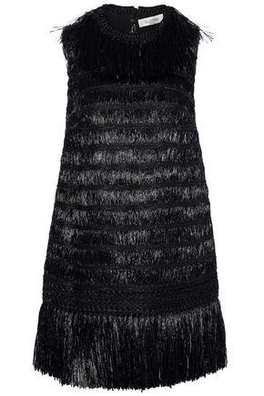 VALENTINO Fringed braid-trimmed raffia mini dress