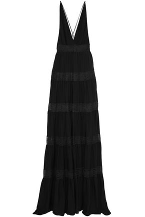 VALENTINO Wrap-effect lace-trimmed silk-crepe de chine gown