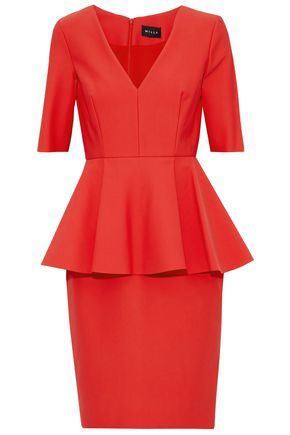 MILLY Flared stretch-cady peplum dress