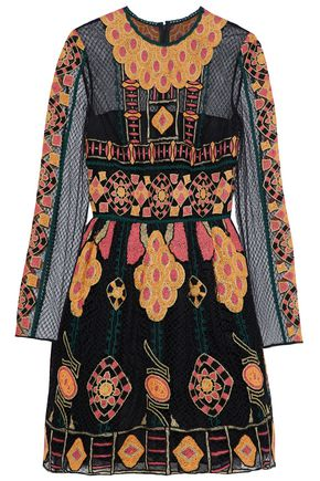 VALENTINO Flared embroidered tulle mini dress