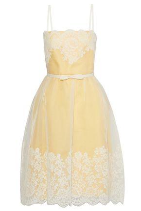 VALENTINO Lace-paneled silk-tulle dress