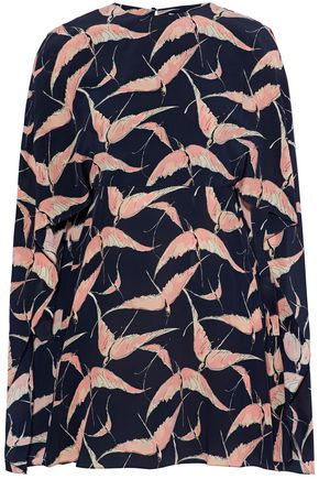 VALENTINO Cape-effect printed silk mini dress