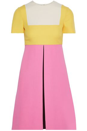 VALENTINO Color-block wool and silk-blend mini dress