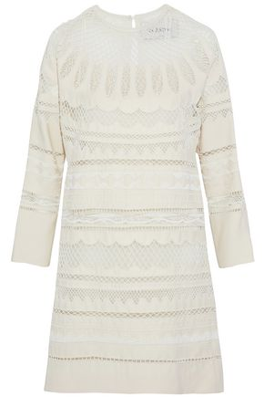 VALENTINO Bead-embellished tulle-paneled silk-blend dress
