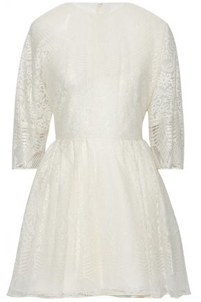VALENTINO Cotton-blend Leavers lace mini dress