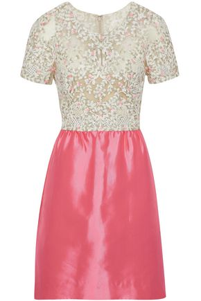 VALENTINO Embellished tulle and silk satin-twill mini dress