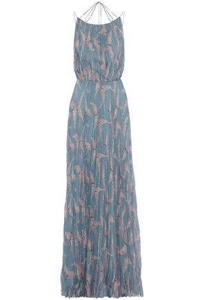 VALENTINO Tie-back pleated printed silk-chiffon maxi dress