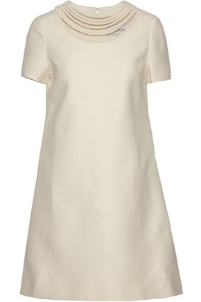 VALENTINO Cutout wool and silk-blend mini dress