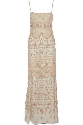 VALENTINO Floral-appliquéd beaded tulle gown